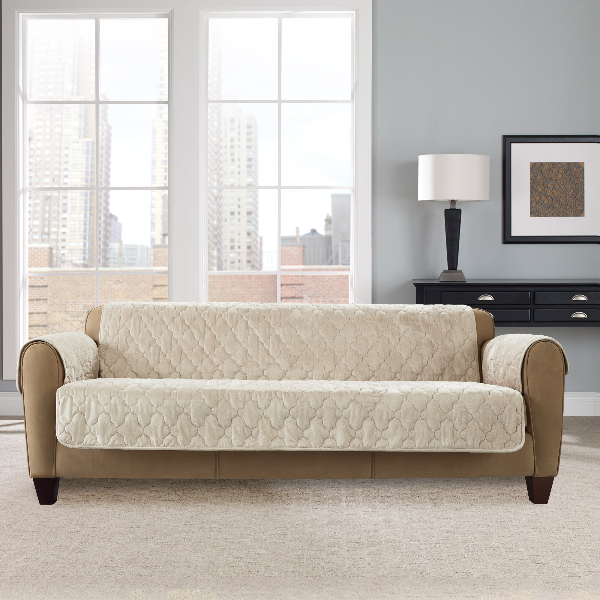 Sure Fit® Water Repellant Pet Sofa Cover in TAUPE
