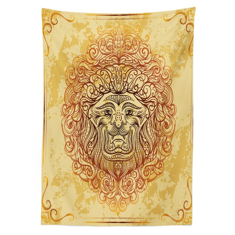 East Urban Home Ambesonne Safari Tablecloth Zodiac Lion Baroque Motifs On Grunge Aged Background Pride Sign Astrology Theme Rectangular Table Cover For Dining Room Kitchen Decor 60 X 90 Yellow Orange
