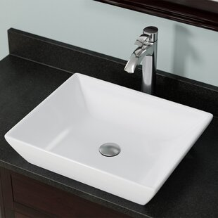 Reviews Vitreous China Rectangular Vessel Bathroom Sink By MR Direct