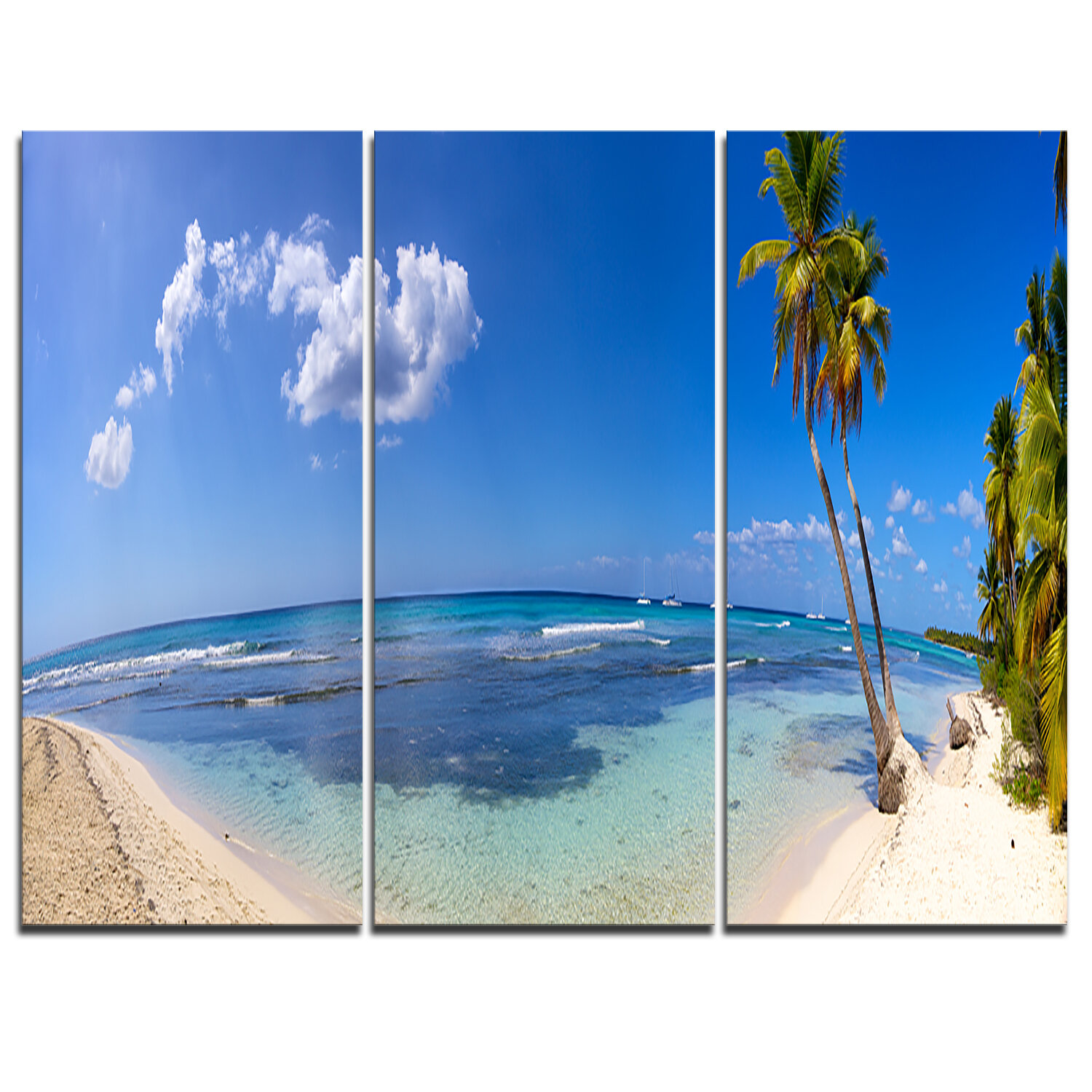 Designart Paradise Beach Panorama 3 Piece Graphic Art On Wrapped Canvas Set Wayfair