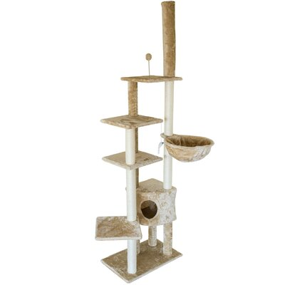 "114"" Furhaven Tiger Tough Skyscraper Playground Cat Tree Furhaven"