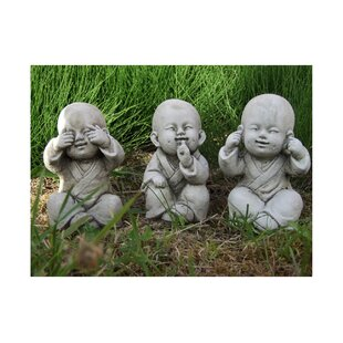 Delicieux 3 Piece Wise Monks Buddha Garden Statue Set