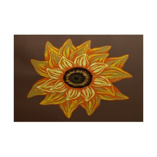 Nayara El Girasol Feliz Flower Print Brown Outdoor Indoor/Outdoor Area Rug