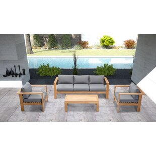 Felicia 4 Piece Teak Sofa Seating Group with Sunbrella Cushions by Union Rustic