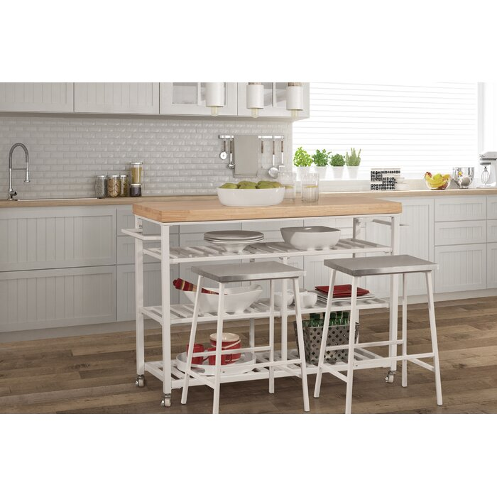 Enjoyable Droitwich Kitchen Island Set With Solid Wood Top Download Free Architecture Designs Oxytwazosbritishbridgeorg