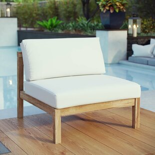 Bayou Breeze Edmeston Outdoor Teak Armless Chair with Cushions