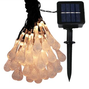Ebern Designs Mcwilliams 30 Count LED Solar Powered Water Drop String Light