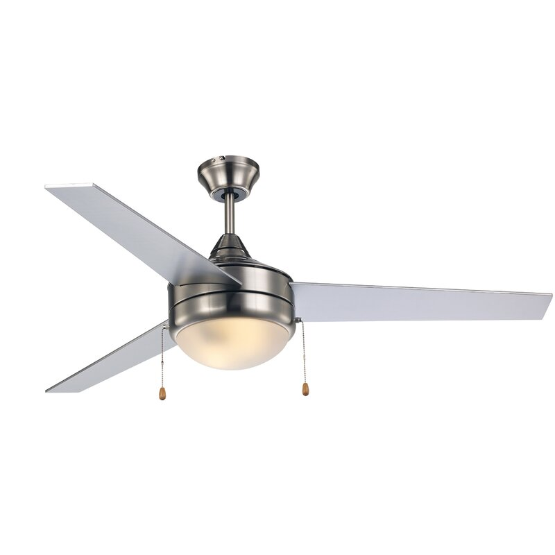 Ebern Designs 52 Everson 3 Blade Standard Ceiling Fan With Pull Chain And Light Kit Included Reviews Wayfair