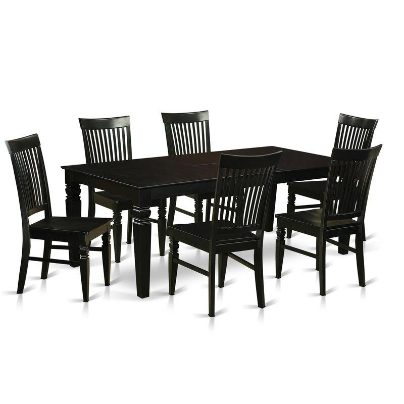 Beesley 7 Piece Black Dining Set