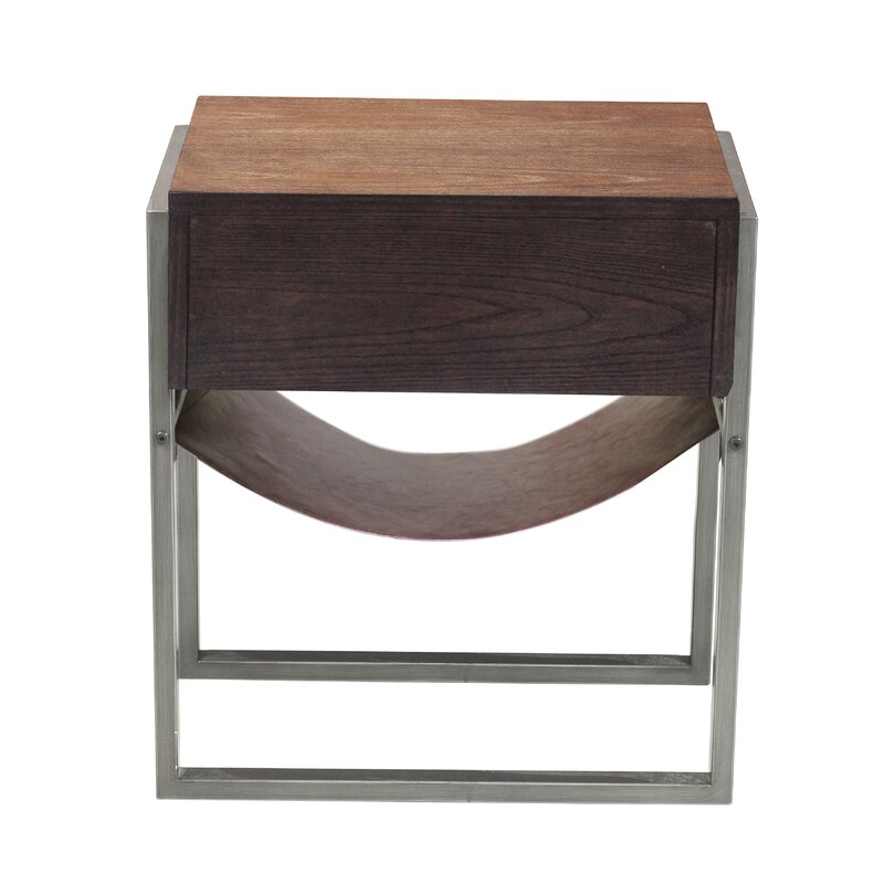Union Rustic Larosa Industrial Style Acacia Wood End Table Reviews