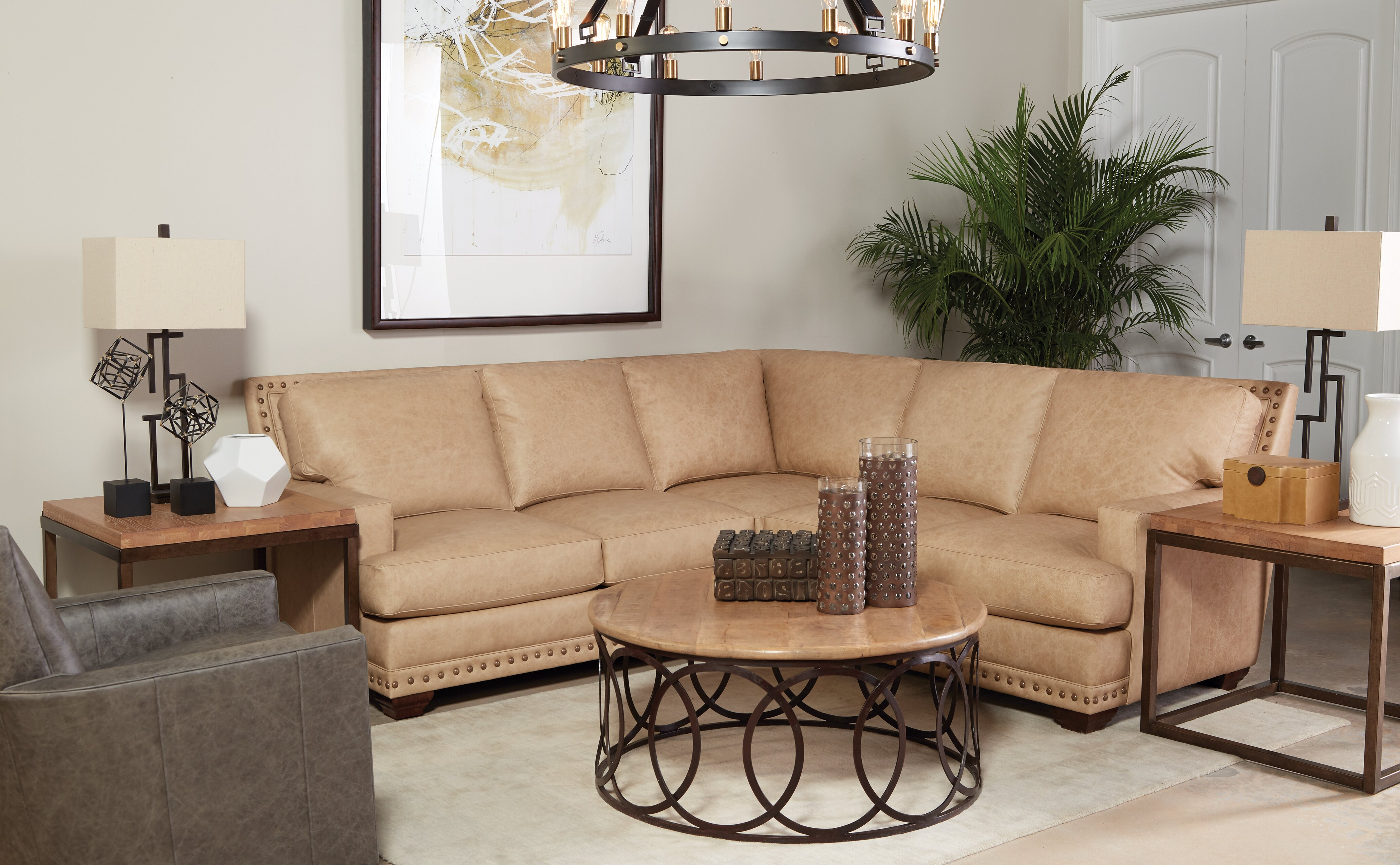Sienna 155 Wide Genuine Leather Symmetrical Corner Sectional Birch Lane