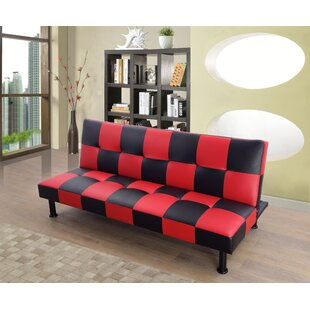 Evianna Faux Leather Convertible Sofa By Ebern Designs