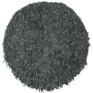 Dane Hand-Hooked Leather Gray Rug by Ebern Designs