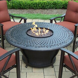 Charleston Aluminum Gas Fire Pit Table and Chairs