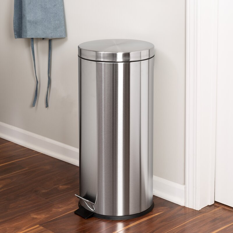 Honey Can Do Stainless Steel 7 9 Gallon Step On Trash Can Reviews Wayfair