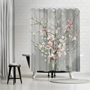 East Urban Home PI Creative Art Delicate Pink Blooms Shower Curtain