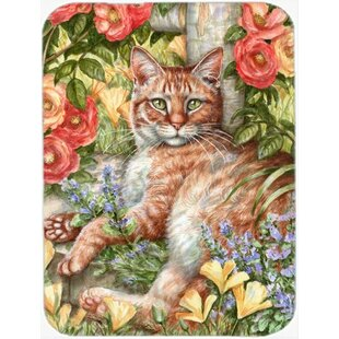 Tabby In The Roses Glass Cutting Board