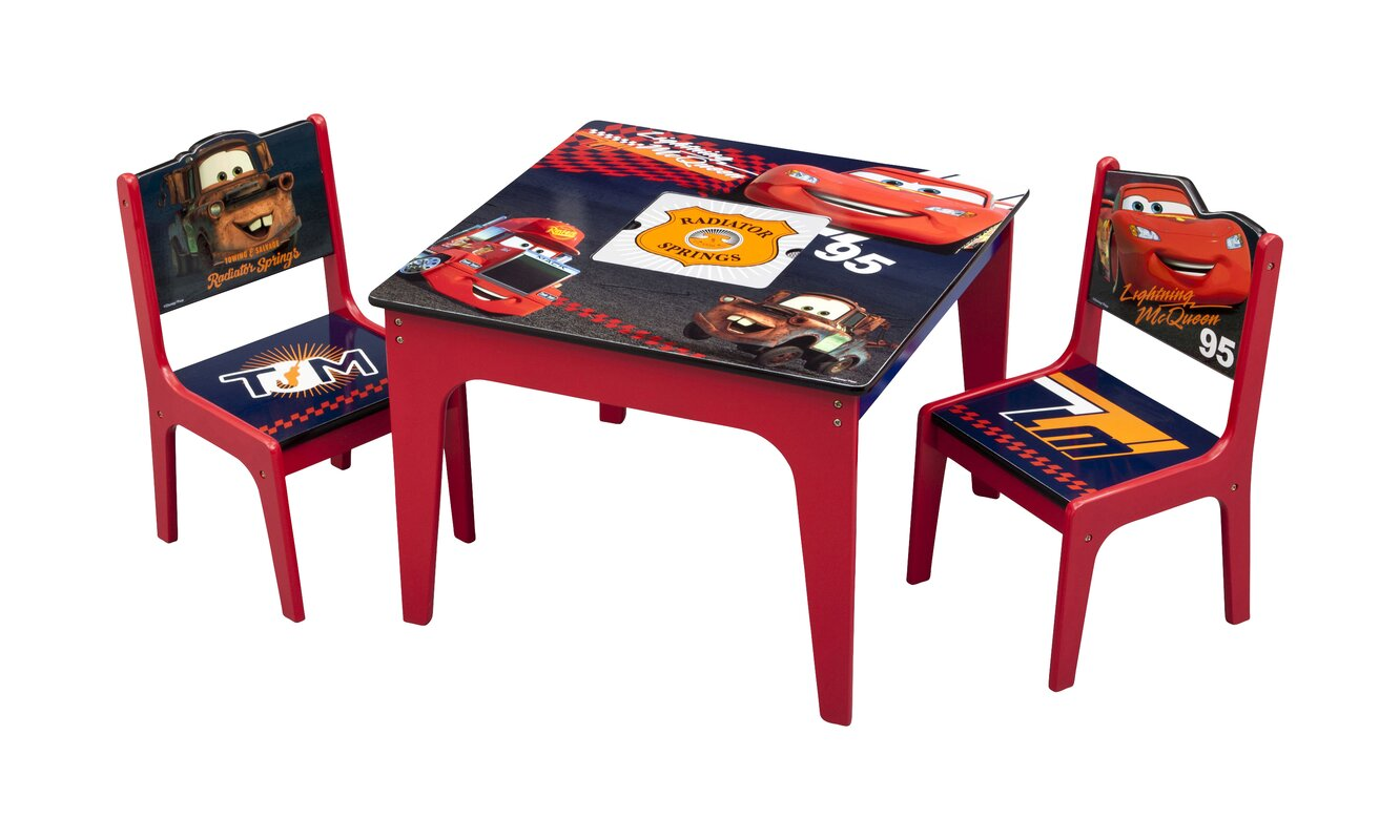 Delightful Cars Kids 3 Piece Table And Chair Set