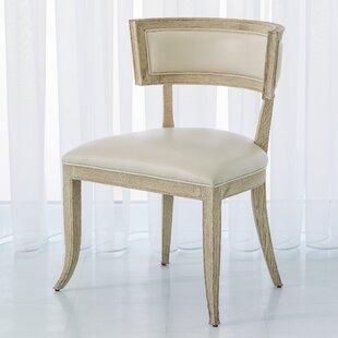 Global Views Klismos Genuine Leather Upholstered Dining Chair