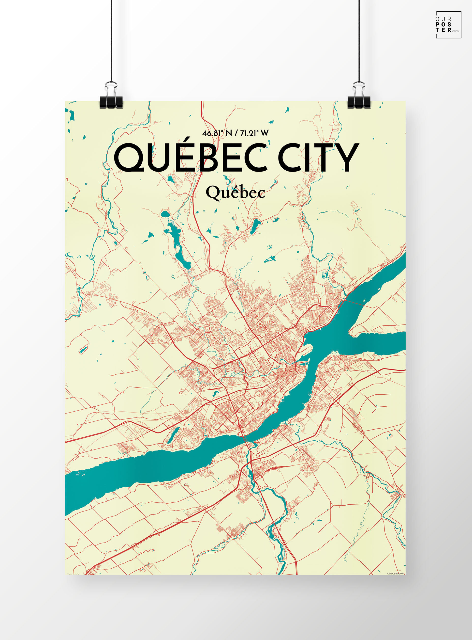 'Quebec City City Map' Graphic Art Print Poster in Green/Beige on