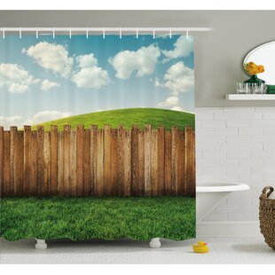 Farm House Wooden Garden Fence on Grassland Pastoral Environment with Cloudy Sky Shower Curtain Set