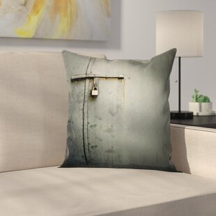 Metal Warehouse Door Square Pillow Cover by East Urban Home