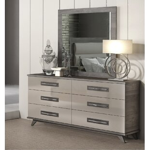 Jeterson 6 Drawer Double Dresser with Mirror