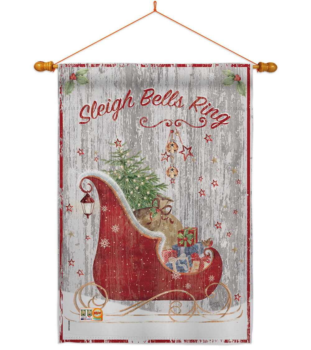 Breeze Decor Sleigh Bells Ring 2 Sided Polyester 40 X 28 In Flag Set Wayfair