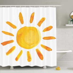 Decor Watercolor Sun Shower Curtain Set by Ambesonne