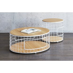 Wireframe End Table White Powder Coat Oak..