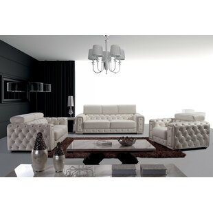 Orren Ellis Coalpit Heath Leather 3 Piece Living Room Set