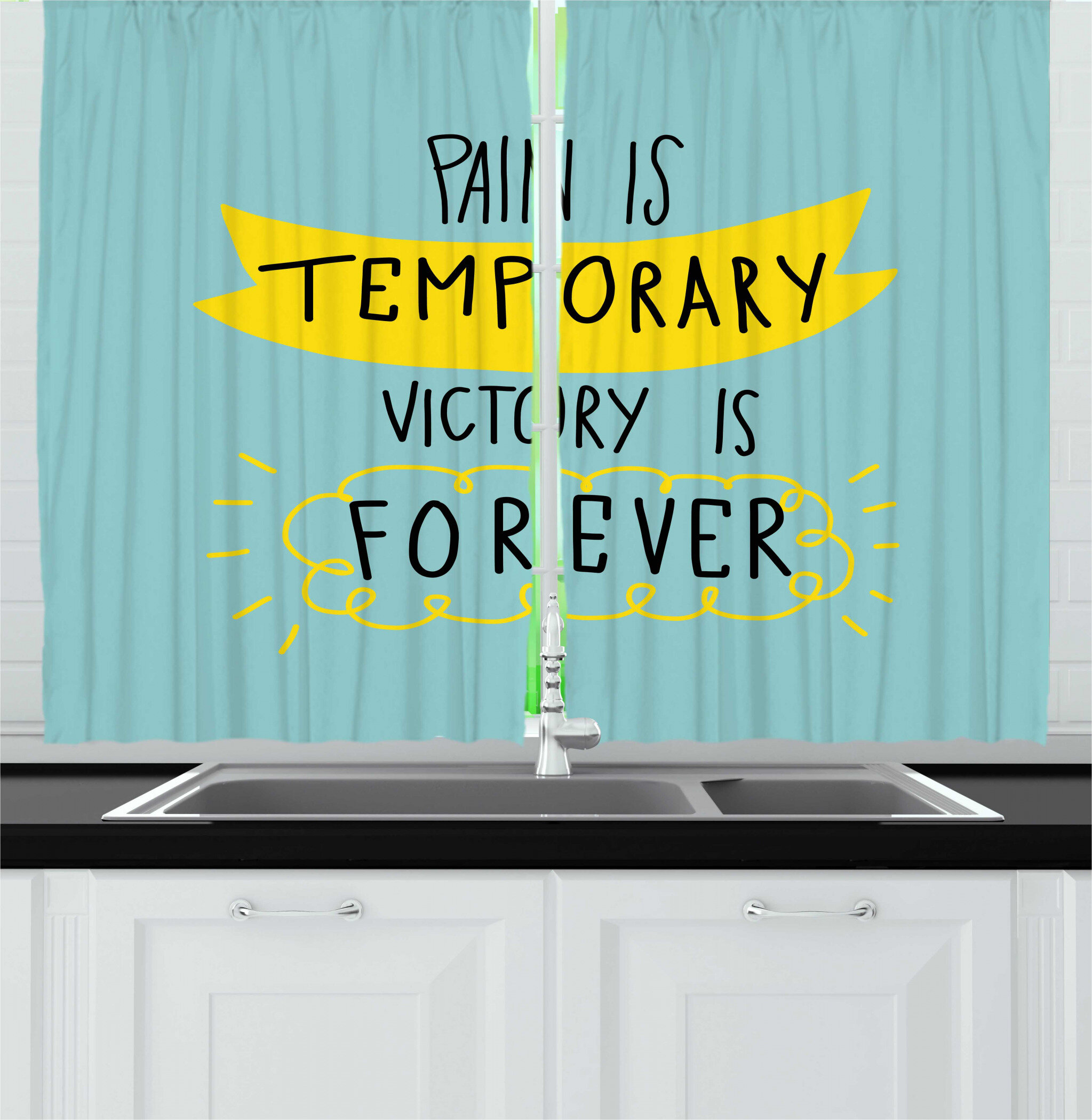 East Urban Home 2 Piece Motivation Pain Is Temporary Victory Is Forever Lettering With Clouds Doodle Personal Kitchen Curtain Set Wayfair