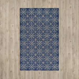 Howland Traditional Hand-Hooked Blue Indoor/Outdoor Area Rug