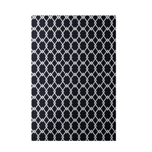 Geometric Hand-Woven Navy Blue Indoor/Outdoor Area Rug