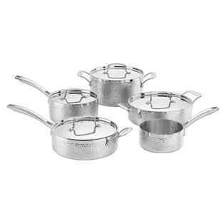 Hammered 9 Piece Stainless Steel Cookware Set