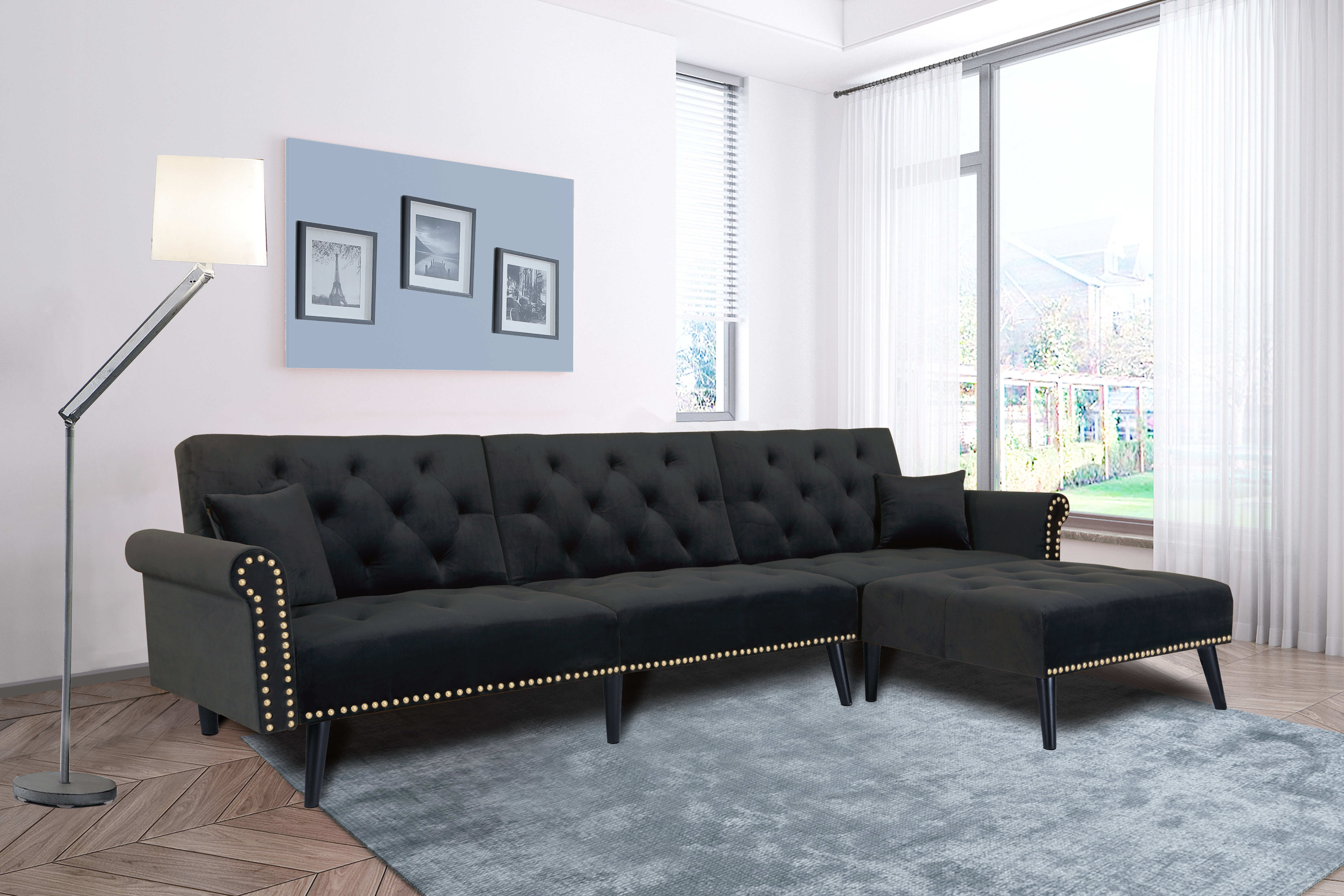 Picture of: Red Barrel Studio Revertible Sleeper Sofa Bed Set Revertible Chaise Sectional Black Wayfair Ca