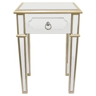 Maciejewski Wood Mirror End Table with Storage
