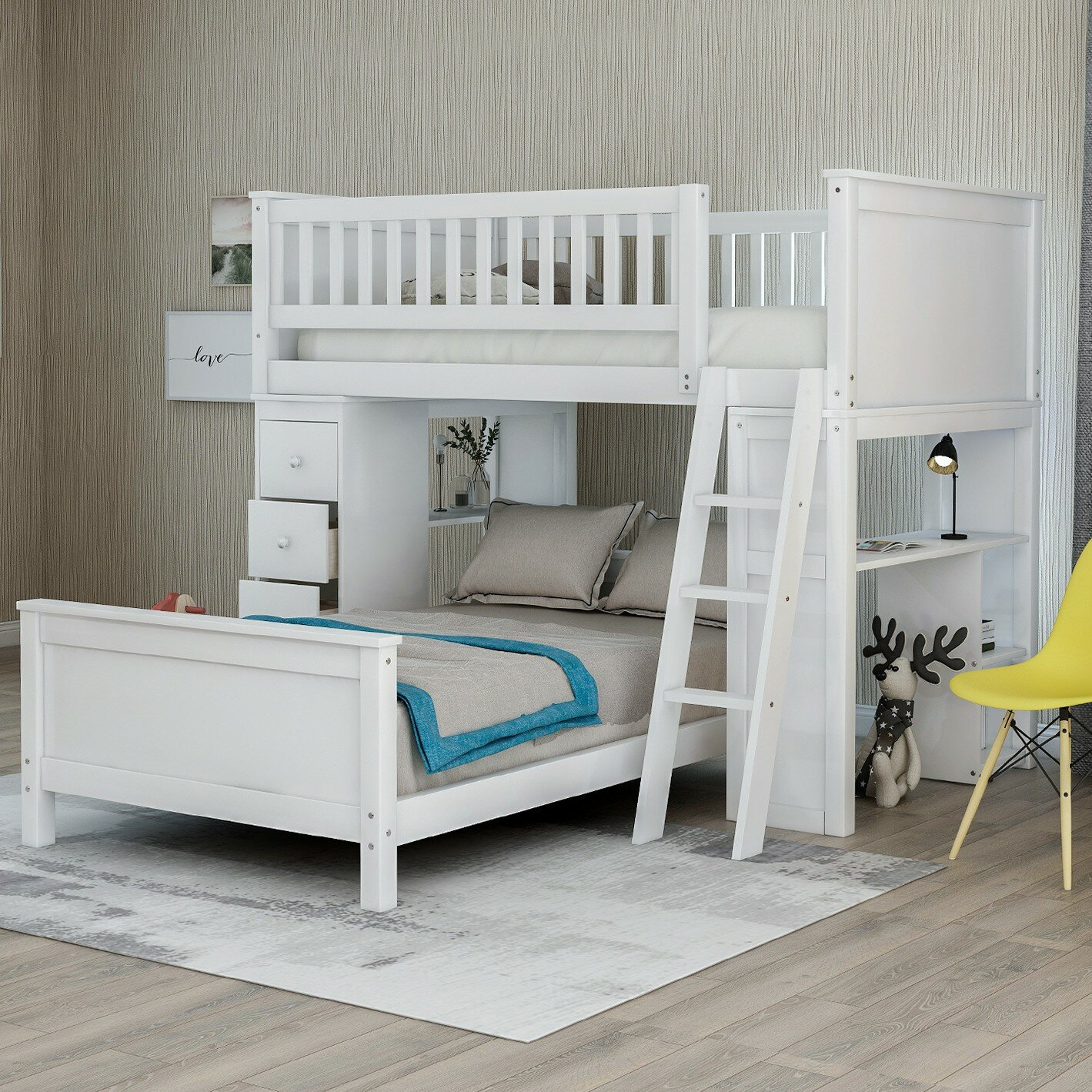 Harriet Bee Twin Over Twin L Shaped Bunk Bed With Drawers And Shelves Reviews Wayfair