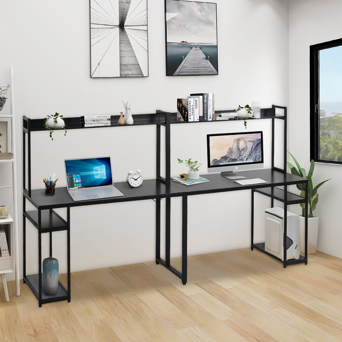 HOMESTAR 2-Piece Laptop Desk and 4-Shelf Bookcase Distressed Mocha