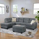 Aquan 70.5 Left Hand Facing Sofa & Chaise with Ottoman by Latitude Run®