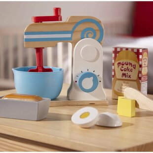 11 Piece Wooden Make-a-Cake Mixer Appliance Set by Melissa & Doug