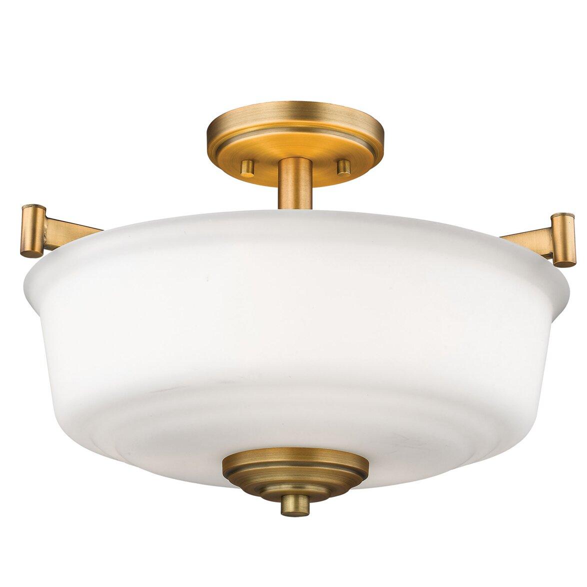 Winston Porter Zeke 3 Light 17 Simple Bowl Semi Flush Mount Reviews Wayfair