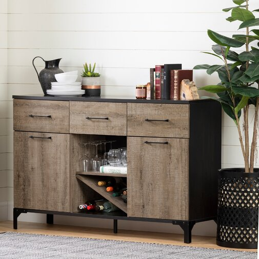 Wine Credenza Weathered Oak/Dark Brown