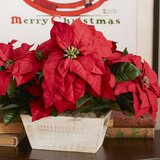Poinsettia Floral Arrangement in Planter by Nearly Natural