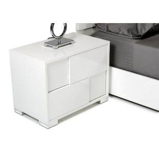 Parman Contemporary 2 Drawer Wood Top Nightstand