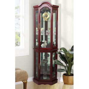 Clayborne Floor Standing 5 Sided Lighted Corner Curio Cabinet by Astoria Grand