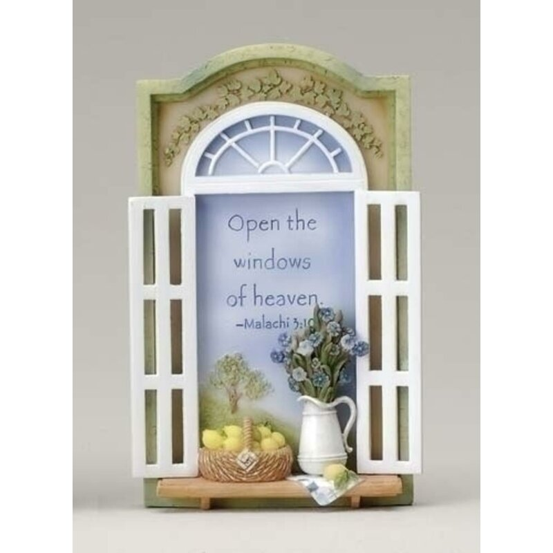 Open The Windows of Heaven Bible Scripture Plaques Sculpture