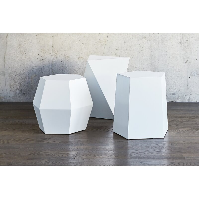 Attrayant Facet 14 Drum Table Matte White
