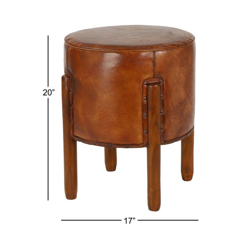 Super Richart Round Upholstered Leather Ottoman Theyellowbook Wood Chair Design Ideas Theyellowbookinfo