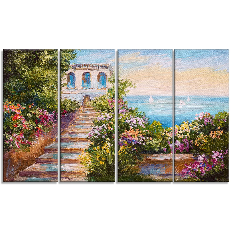 Designart House Near The Sea Landscape 4 Piece Painting Print On Wrapped Canvas Set Wayfair